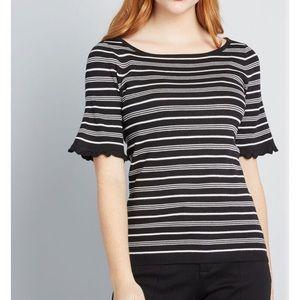Modcloth stripe black white sweater bell sleeve